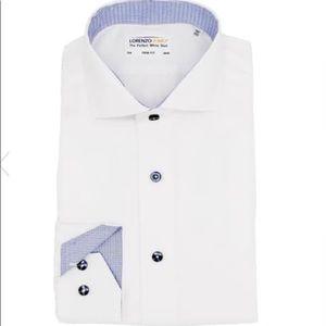 Lorenzo Uomo Solid  Non-Iron Trim Fit Dress Shirt